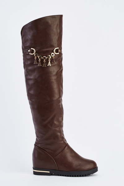 Flat Chain Insert Over The Knee Boots