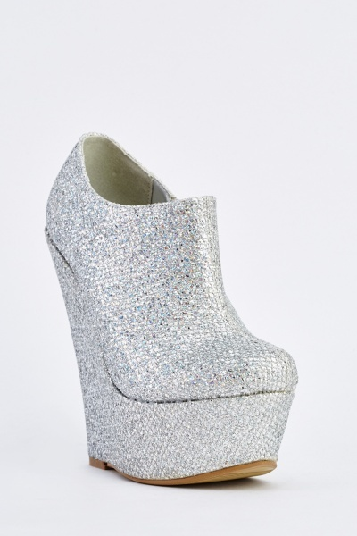 Glittered Platform Wedge Shoes