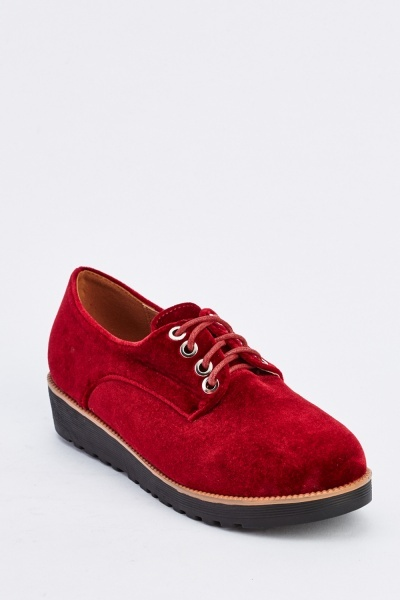 Lace Up Velveteen Brogues
