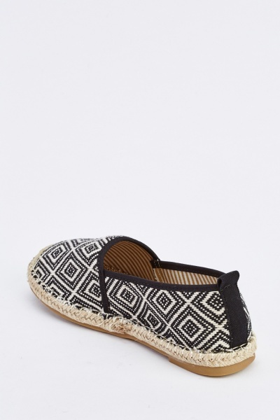 Lattice Embroidered Flat Espadrilles