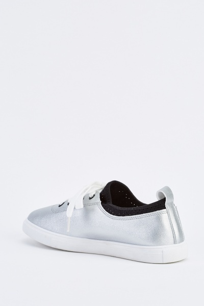 Metallic Perforated Contrast Plimsolls