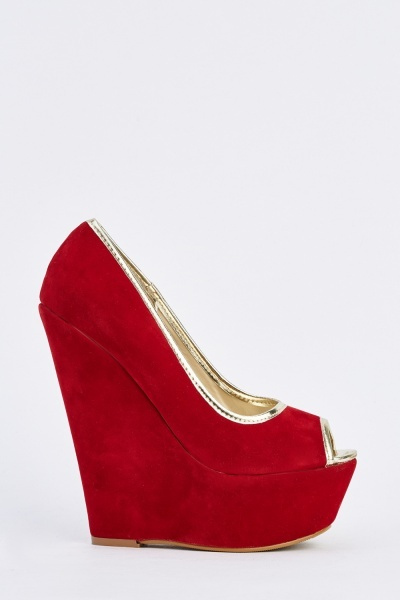 Peep Toe Platform Wedge