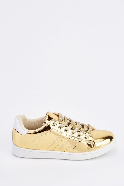 Shiny Metallic Lace Up Trainers