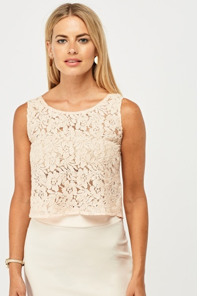 Beaded Floral Lace Contrast Top