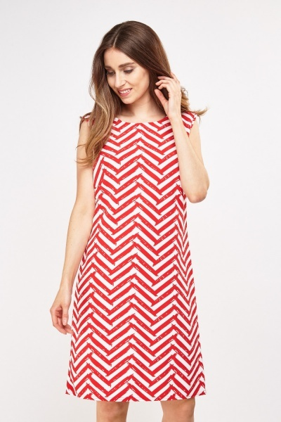 Chevron Print Shift Dress