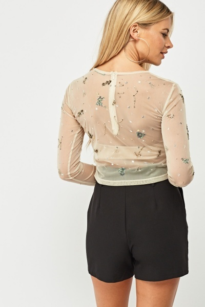 Embellished Sheer Mesh Top
