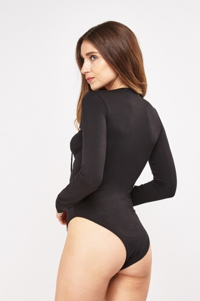 Lace Up Low Plunge Bodysuit