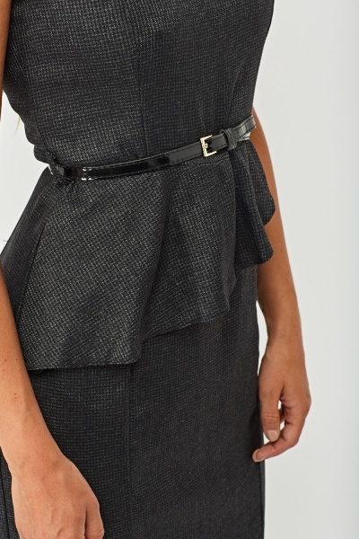 Metallic Pin Check Peplum Dress