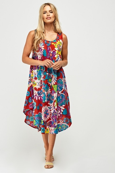 Mix Floral Printed Tent Dress
