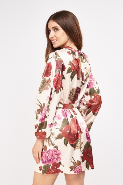 Silky Floral Tie Up Dress