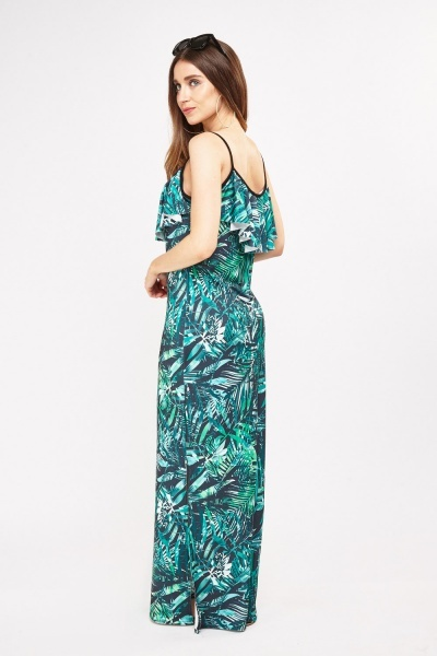 Tropical Palm Printed Maxi Dress
