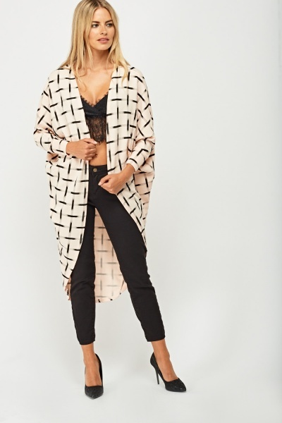 Window Pane Long Cardigan