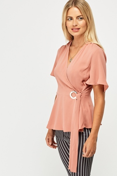 Wrap Tie Front Frilly Top