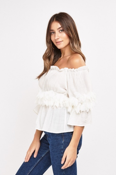 3D Flower Trim Crinkle Top