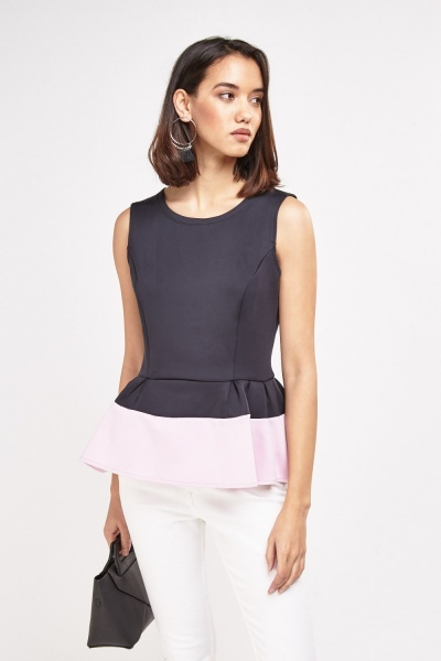Contrasted Colour Block Peplum Top