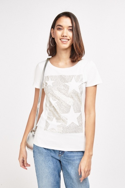 Encrusted Star Detailed T-Shirt