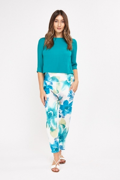 Flower Printed High Waist Trousers
