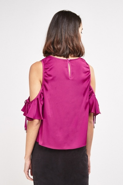 Frilly Cold Shoulder Sateen Top