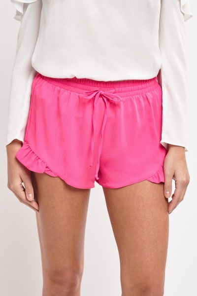 Frilly Hem Chiffon Shorts