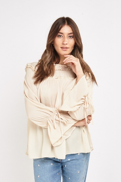 Frilly Ruched Trim Sheer Blouse