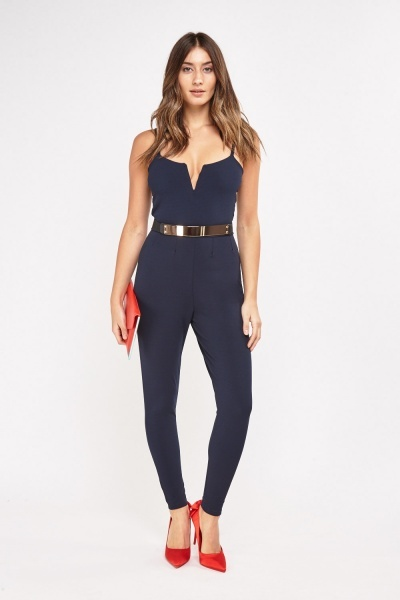 Gold Metal Belt Insert Jumpsuit