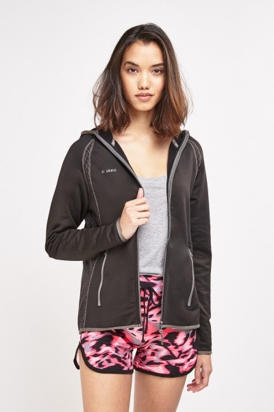 Hooded Black Sports Jacket