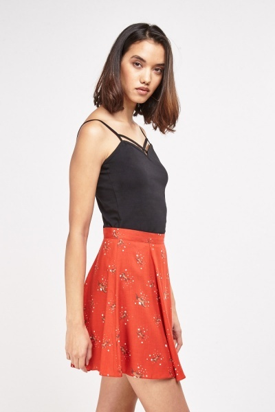 Horse Printed Mini Skirt