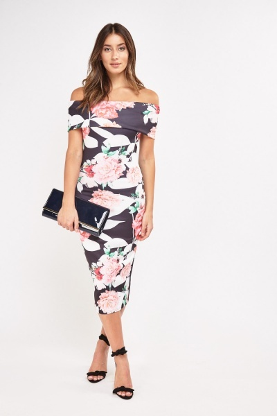 Off Shoulder Printed Bodycon Dress