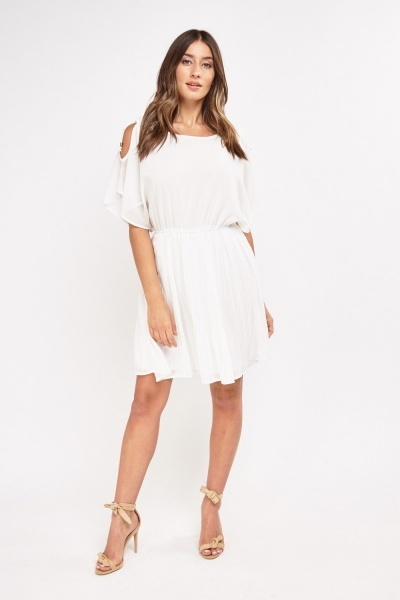 Sheer Pleated Swing Dress