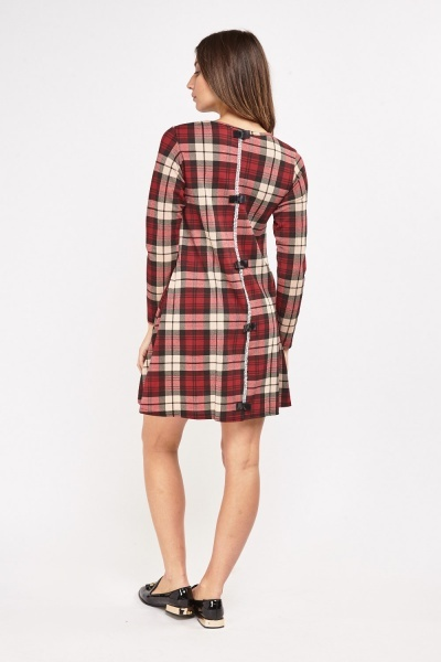Tartan Detailed Back Swing Dress