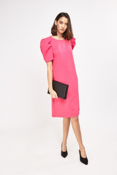 Textured Pouf Sleeve Midi Dress