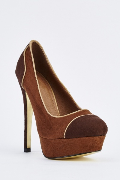 CHEAP Brown Suedette High Heels 21988886497 – Women's Footwear