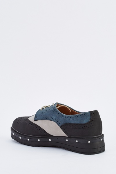 Colour Block Studded Trim Brogues