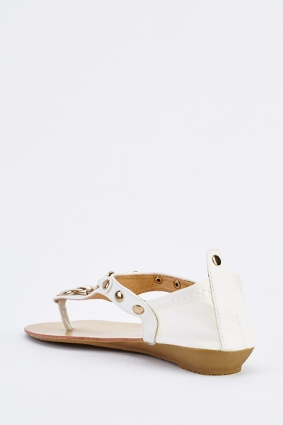 Detailed Faux Leather Sandals