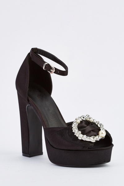 Embellished Sateen Block Heel Sandals
