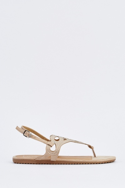 Embellished Suedette Flat Sandals