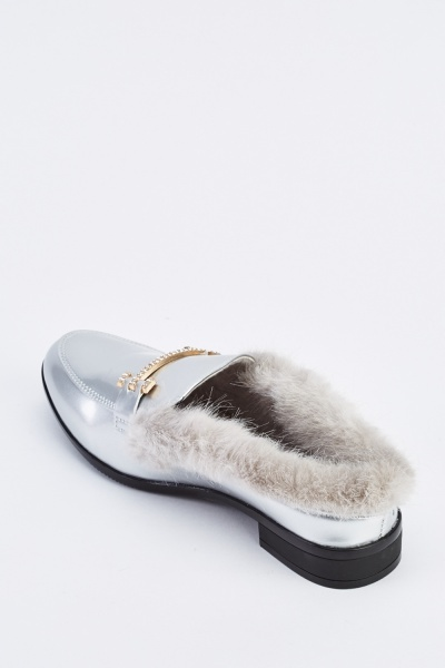 Faux Fur Insert Metallic Shoes