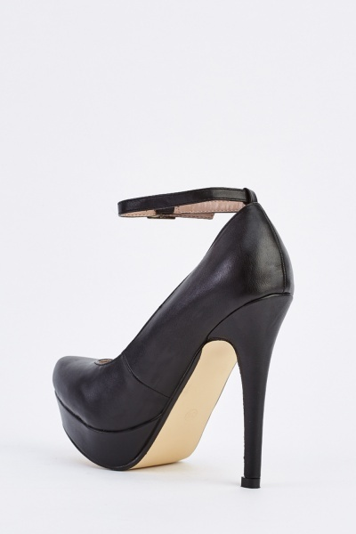 Faux Leather Peep Toe Pumps