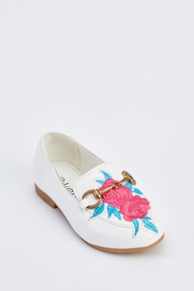 Kids Embroidered Front Shoes