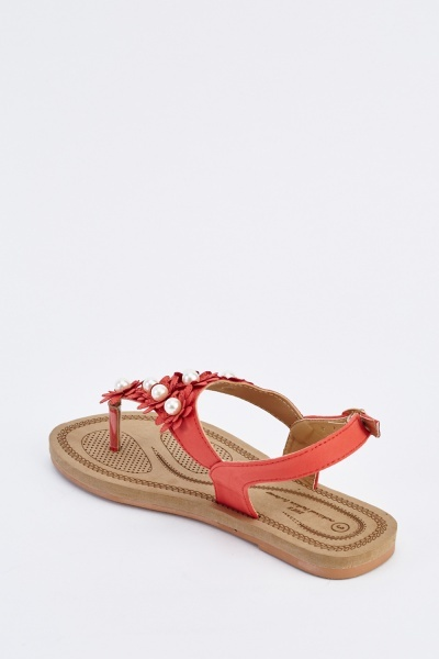 Red Embellished Flat Sandals