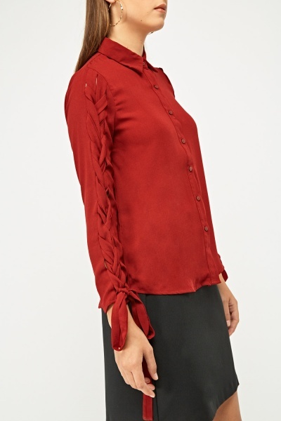 Criss-Cross Tie Up Sleeve Shirt