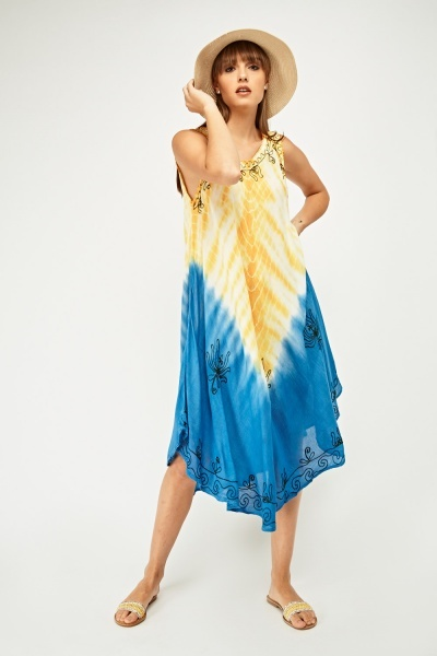 Embroidered Dip-Dyed Tent Dress