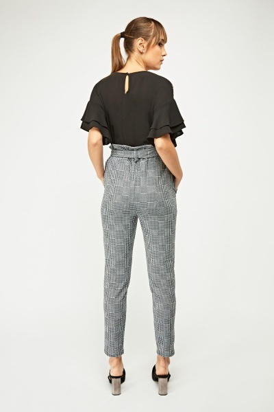 High Waist Houndstooth Print Trousers