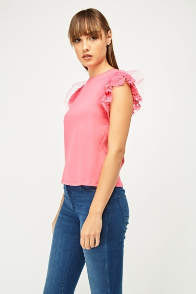 Lace Net Trim Sleeve Top