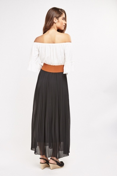 Pleated Sheer Detailed Maxi Skirt