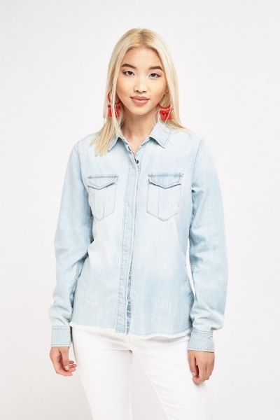 Raw Edge Light Denim Shirt