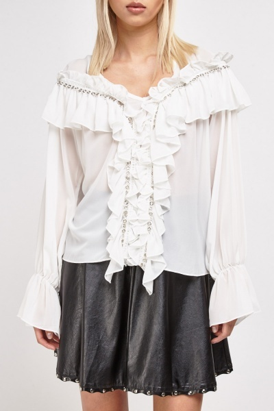 Ruffle Gathers With Eyelets Sheer Blouse