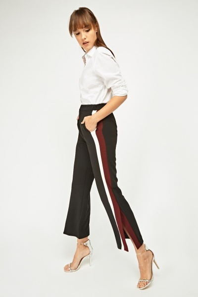 Striped Side Straight Leg Trousers