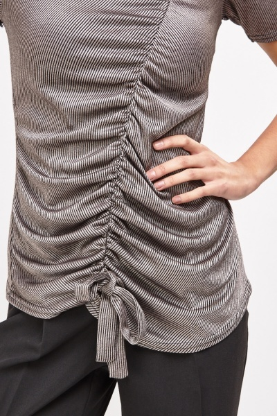Asymmetric Ruched Rib Top