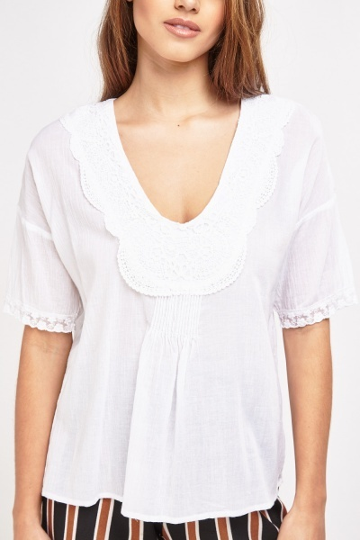 Crochet Trim Smock Top